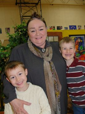 Author Polacco with 2 students