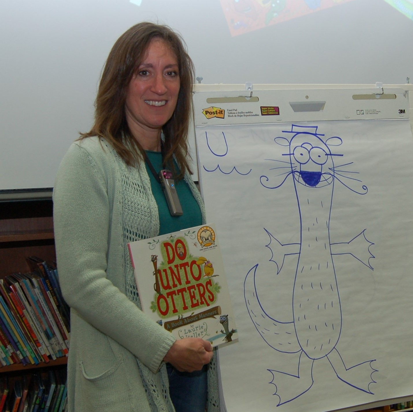 Author Laurie Keller with her artwork