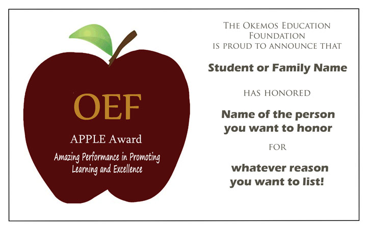 example of an APPLE Award certificate, with APPLE logo