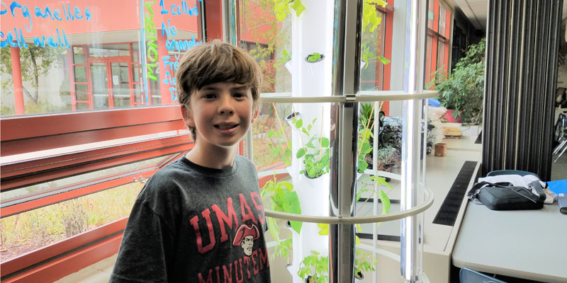 Boy standing next to Tower Garden in Chippewa classroom